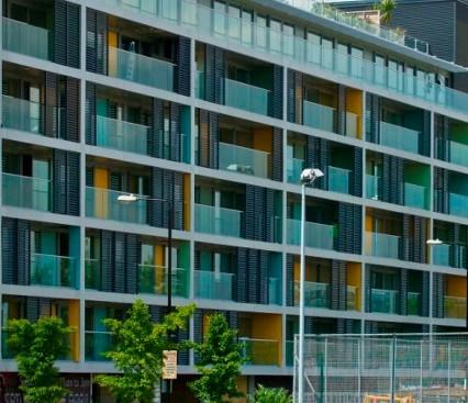 """alt=""""Aluminium Doors on apartment building"""""""