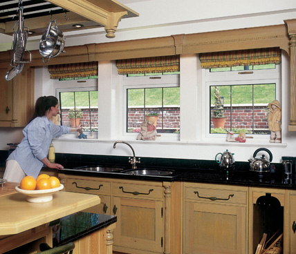 Casement Windows in kitchen interior view
