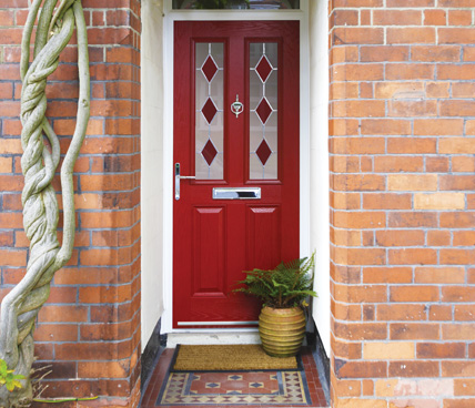 Red Composite Door with decorative glazing
