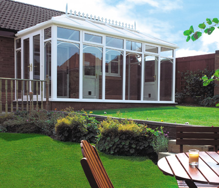 Edwardian Conservatory Low angle view across garden