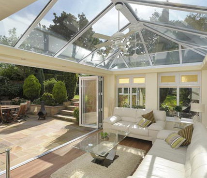 Orangery Modern Interior with open door