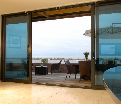 Aluminium Door open to decking