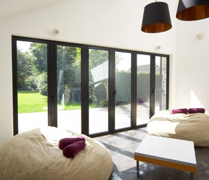 black Bi-Folding door interior view