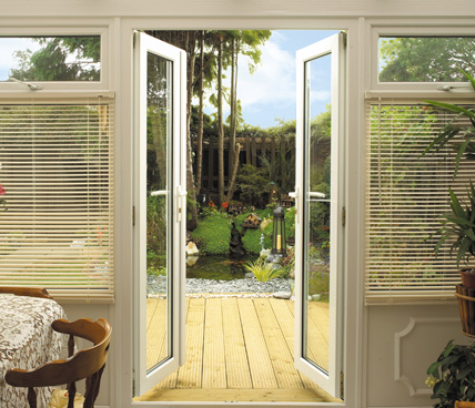 Open French Door leading to deck interior view