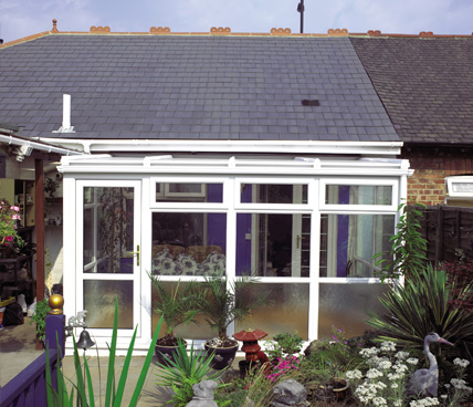 Lean To Conservatory with plants front view
