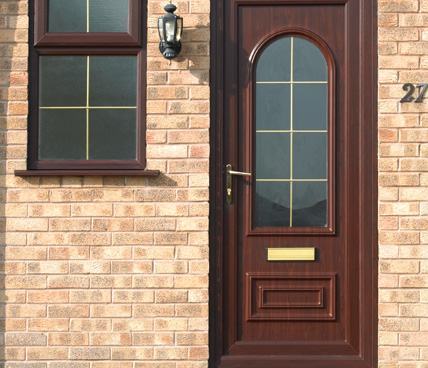 Brown uPVC Door with arch window