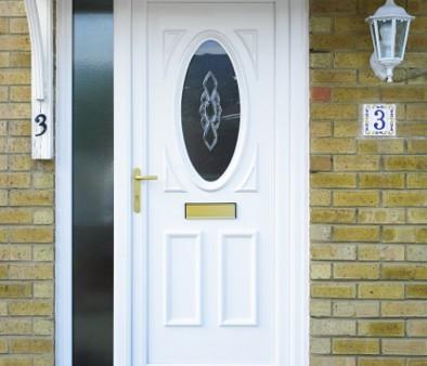 white uPVC door with bevel glazing